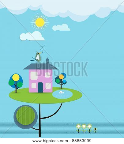 Paper Cut-fantasy Home, Sky With Sun