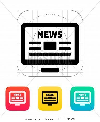 Online news. Desktop PC newspaper icon.