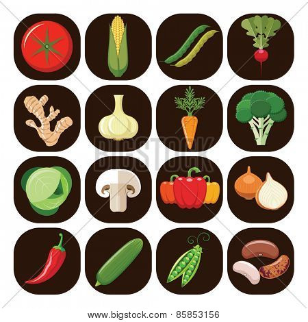 Vegetarian food icons. Collection of flat design icons presenting different types of vegetables isolated on brown background. Vector illustration.