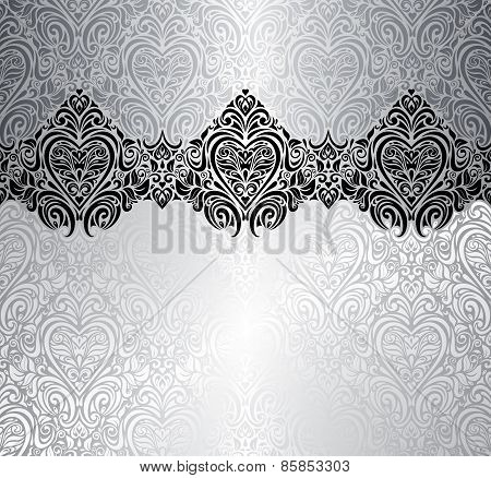 Silver fashionable invitation vintage background design