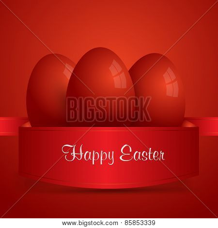 Happy Easter. Red Easter Eggs Wrapped In Red Ribbon. Red Background. Vector Eps 10 . Uskrs.