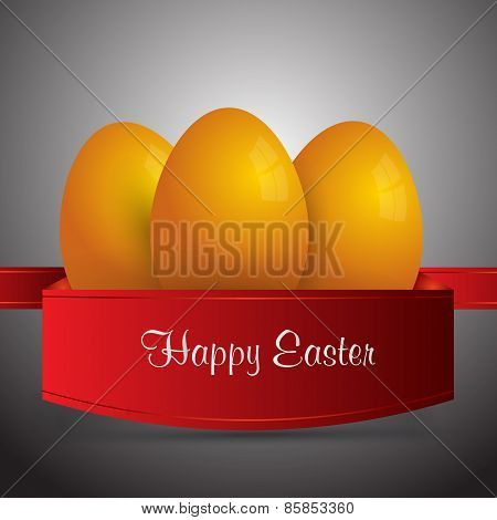 Happy Easter. Yellow Easter Eggs Wrapped In Red Ribbon.gray  Background. Vector Eps 10 . Uskrs.