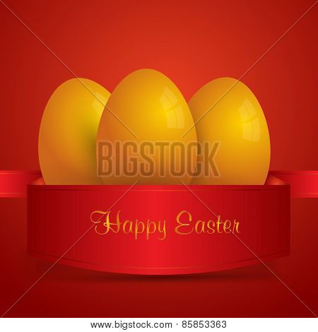 Happy Easter. Yellow Easter Eggs Wrapped In Red Ribbon. Red Background. Vector Eps 10 . Uskrs.