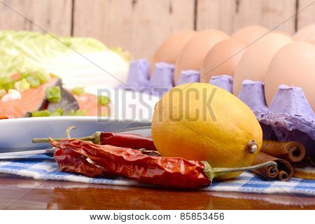 Lemon, Eggs, Red Fish, Cabbage And Red Pepper