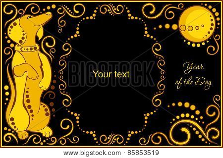 Vector Template With Sign Chinese Horoscope - Dog.eps