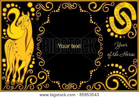Vector Template With Sign Chinese Horoscope - Horse.eps