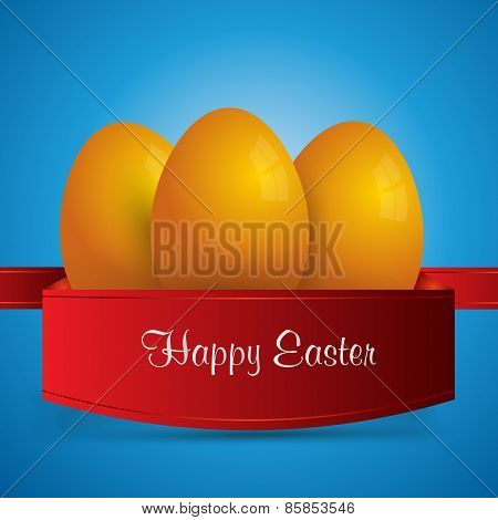 Happy Easter. Yellow Easter Eggs Wrapped In Red Ribbon. Blue Background. Vector Eps 10 . Uskrs.
