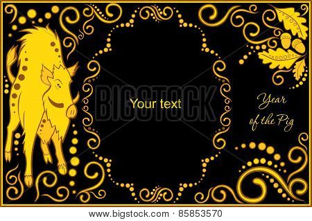Vector Template With Sign Chinese Horoscope - Pig.eps
