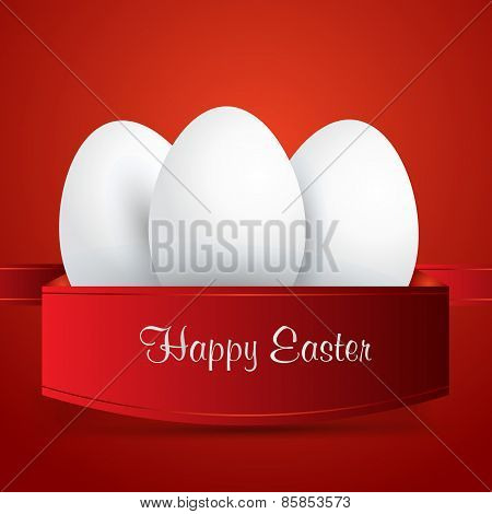 Happy Easter. White Easter Eggs Wrapped In Red Ribbon. Red Background. Vector Eps 10 . Uskrs.