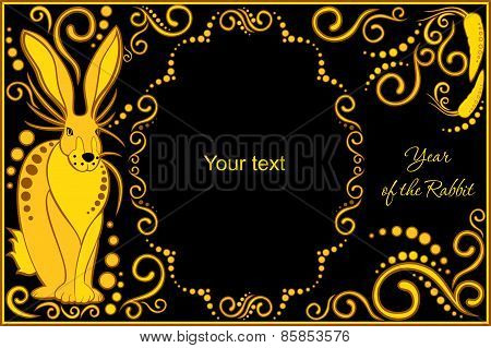 Vector Template With Sign Chinese Horoscope - Rabbit.eps