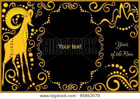 Vector Template With Sign Chinese Horoscope - Ram.eps