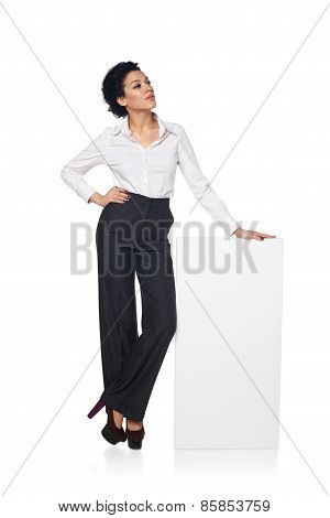 Business woman with blank white board