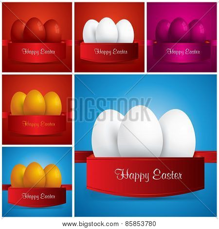 Collection . Happy Easter.easter Eggs Wrapped In Ribbon. Vector Eps 10. Uskrs.