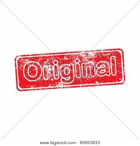 original red grunge rubber stamp