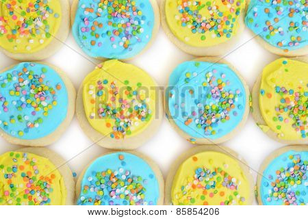 blue and yellow easter cookie background