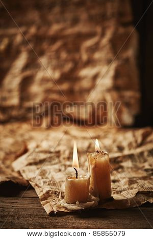 Vintage Music Sheets With Candle