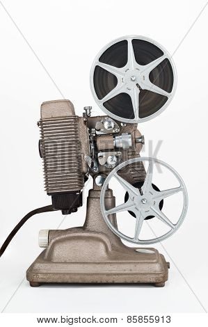 Vintage 8 mm Movie Projector with Film Reels. Film is threaded through Projector.