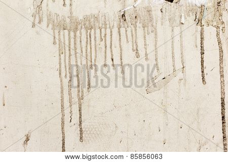Dirty Beige Concrete Wall With Streaks Of Water, Cracks And Scratches. Grungy Concrete Surface. Grea