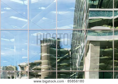Glass facade.