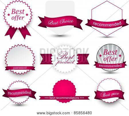 Set of magenta ribbons and award badges. Vector illustration.