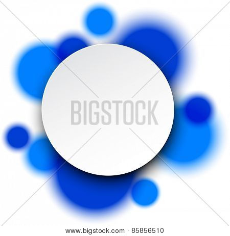 Vector illustration of white paper round speech bubble over blue circles. Eps10.