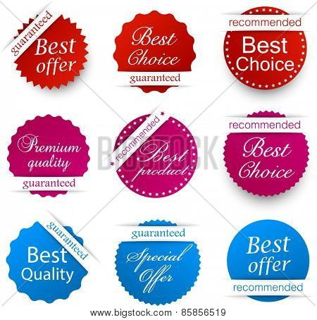 Set of red, purple and blue award badges. Vector illustration.