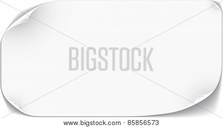 White paper card with curled angles. Vector illustration.