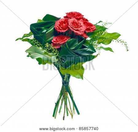 bouquet of roses and leaves