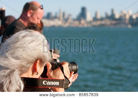 Woman Shoots Photos Of San Francisco Skyline On Ferry Trip