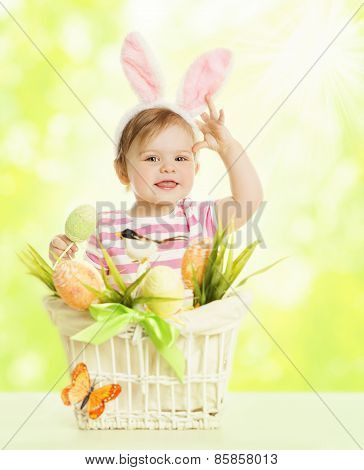 Child Girl Bunny Ears, Basket With Eggs, Little Kid Dressed Pink Rabbit Ear, Funny Baby Hare Mask