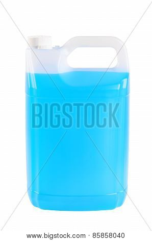 Container With Windshield Washer Fluid, On White Background