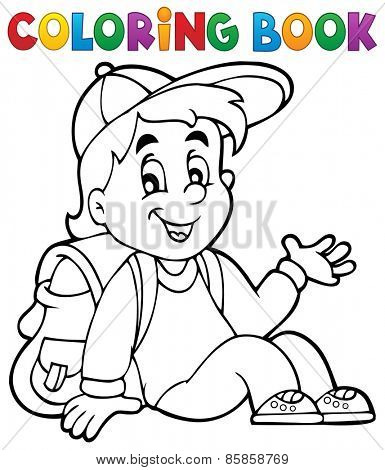 Coloring book pupil theme 4 - eps10 vector illustration.