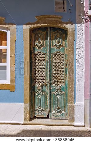 Dark Green Door In Ancient Portuguese Town Of Faro