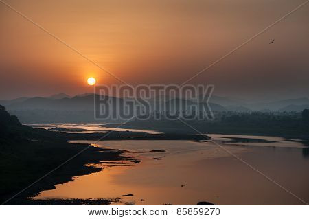 Sunrise on river Narmada