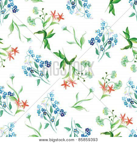 Forget-me-not And Field Flowers Watercolor Seamless Vector Print