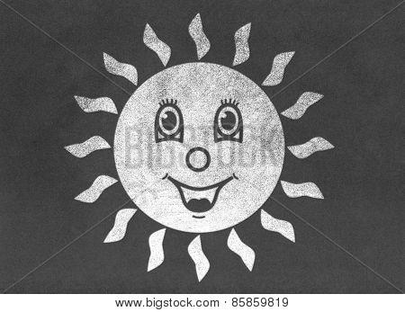Happy Smiling Sun on Chalkboard