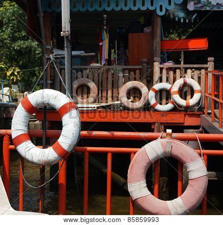 Old Lifebuoy Swimming Ring At Riverside