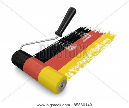 Paint roller with German flag (clipping path included)