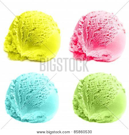 Scoops Of Ice Cream Isolated Over White Background. Mixed Scoops