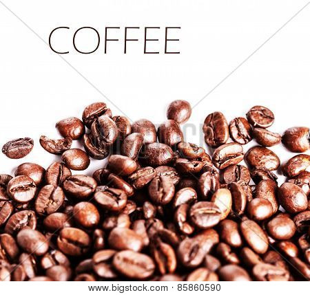 Brown Coffee Beans Isolated On White Background. Roasted Coffee Beans For Background And Texture. Cl