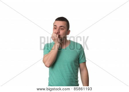 Portrait Of Thinking Man With Fingers In Mouth