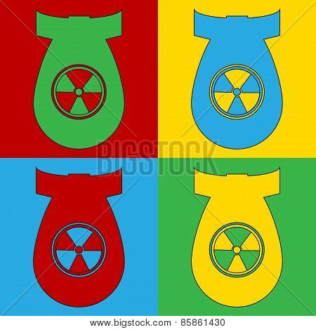Pop Art Atom Bomb Symbol Icons.