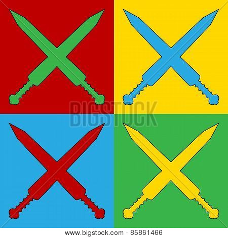 Pop Art Crossed Gladius Swords Symbol Icons.