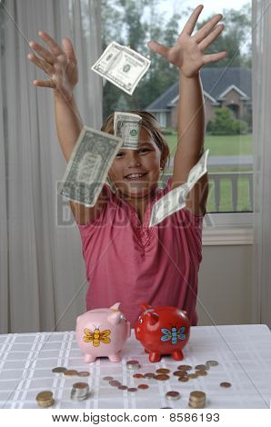 School Girl And Dollar Bills
