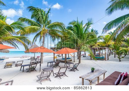Tropical Vacation Resort View With Palm Trees At Exotic Sandy Beach In The Caribbean Sea