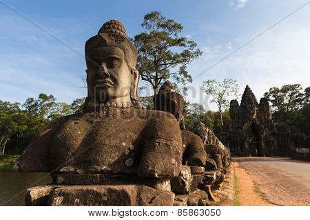 The entrance to Angkor Thom, Cambodia