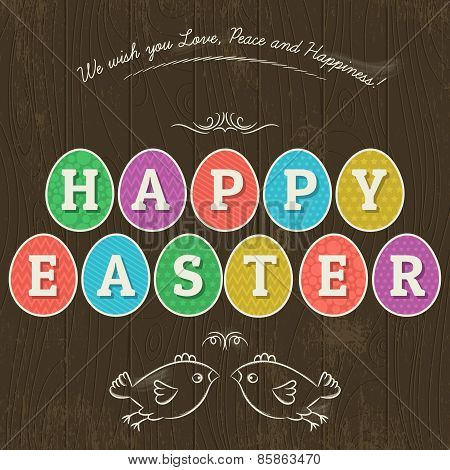 Card For  Easter Day With  Eleven Colored Eggs And Greetings Text