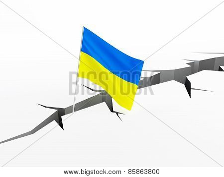 Ukraine Flag Falls Into A Crevasse On The Ground, The Collapse Of The Hryvnia Collapse Of The Econom