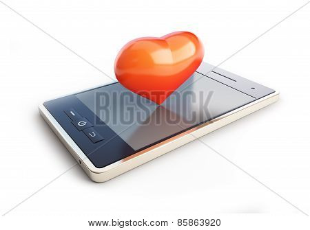 Mobile Phone With A Heart On The Couch