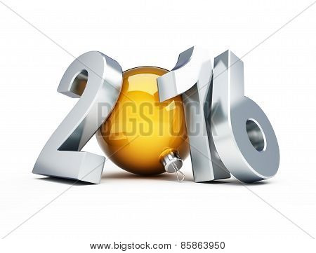 Happy New Year 2016 3D Illustrations On A White Background